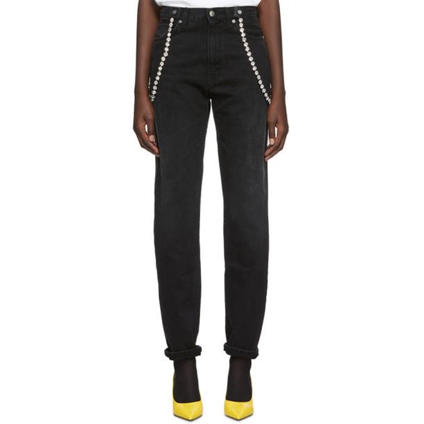 Christopher Kane Black High-Waisted Crystal Jeans