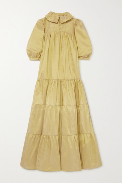 AVAVAV - Tiered Silk-taffeta Maxi Dress - Chartreuse