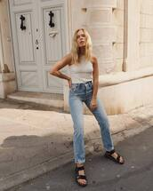 jeans,straight jeans,white t-shirt,black sandals,flat sandals,casual,streetstyle