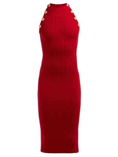 Balmain - Halterneck Wool Blend Dress - Womens - Red