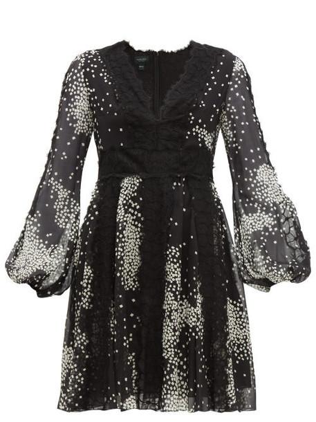 Giambattista Valli - Square Print Lace Trim Silk Georgette Dress - Womens - Black White