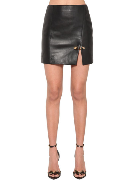 VERSACE Safety Pin Nappa Leather Mini Skirt in black