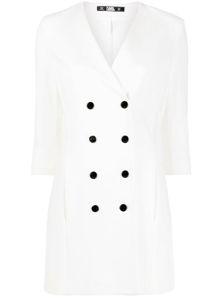 Karl Lagerfeld double breasted Punto dress in neutrals