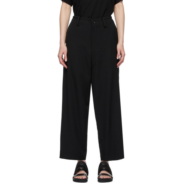 Ys Black Tapered String Trousers