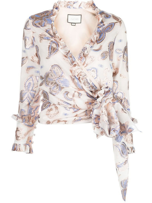 Alexis Marceau wrap-style top in white