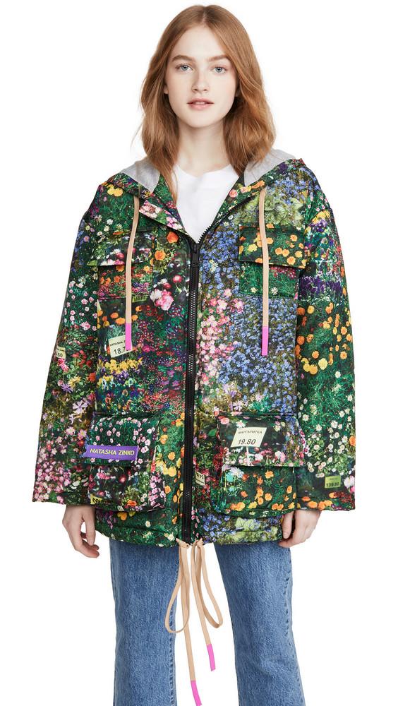 Natasha Zinko Printed Hooded Badge Jacket in multi