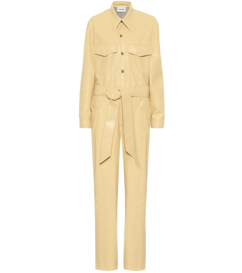 Nanushka Ashton faux leather jumpsuit in yellow