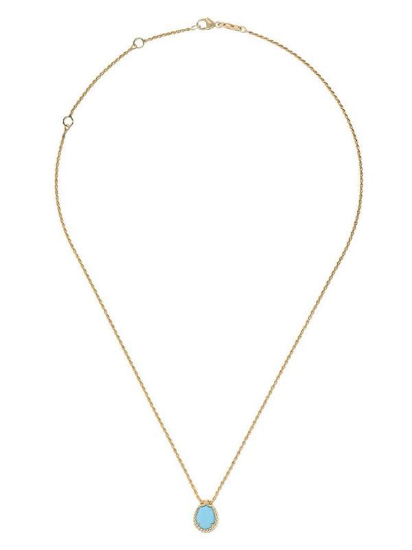 Boucheron 18kt yellow gold Serpent Bohème turquoise S motif teardrop pendant necklace