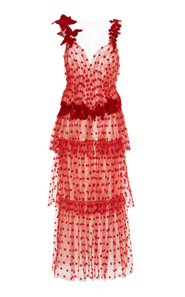 Rodarte Butterfly Tiered Tulle Maxi Dress in red
