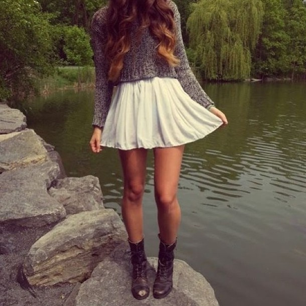 skirt shoes sweater