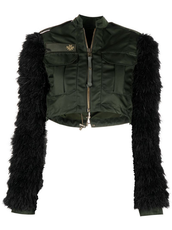Mr & Mrs Italy x Audrey Tritto feather sleeve jacket in green