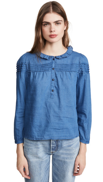 Madewell Hadley Pintuck Chambray Top