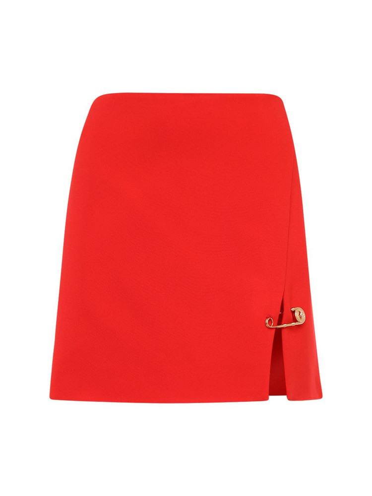 VERSACE Stretch Cady Mini Skirt in red