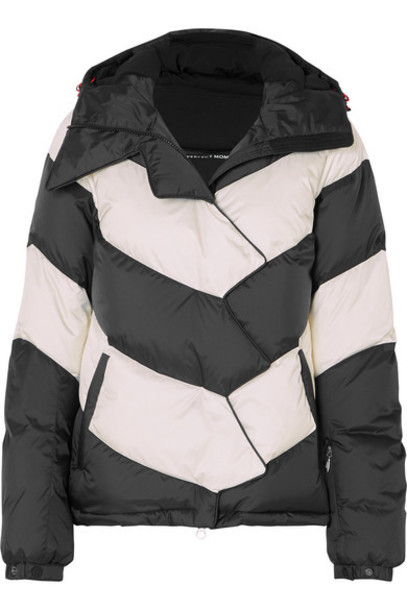 Perfect Moment - Hooded Two-tone Striped Quilted Down Ski Jacket - Black