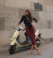 skirt,midi skirt,red skirt,top,blouse,black top,sandals