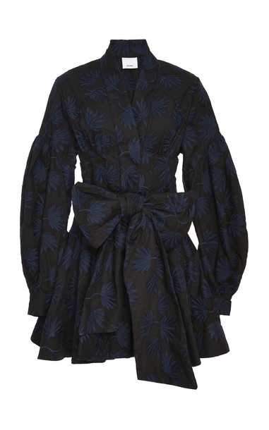 Acler Lella Embroidered Cotton Mini Dress Size: 2 in black