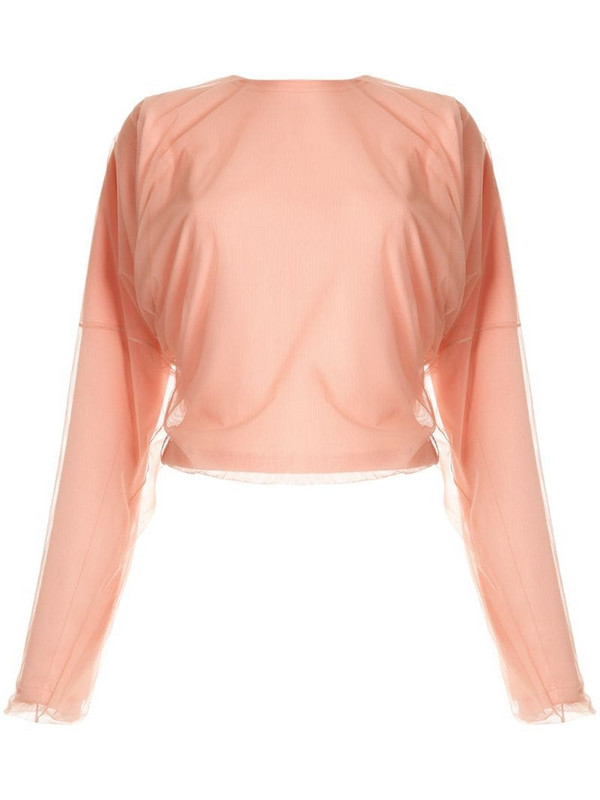 Y/Project mesh overlay dolman top in pink