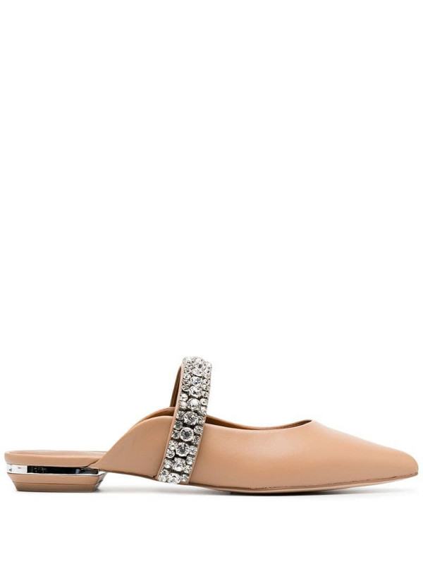 Kurt Geiger London crystal embellished slippers in neutrals