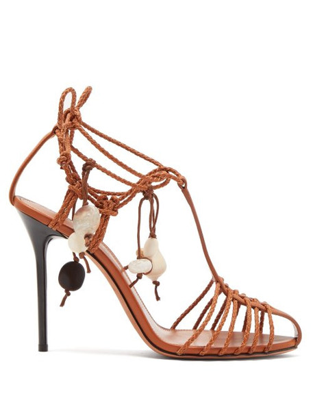 Altuzarra - Tullio Shell Embellished Leather Sandals - Womens - Tan