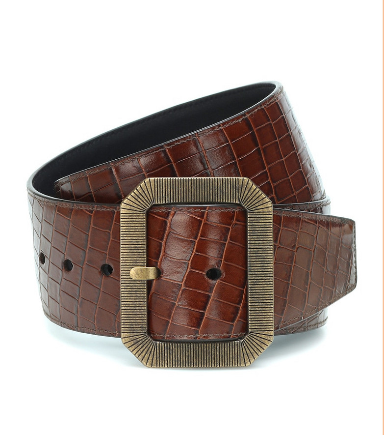 Saint Laurent Croc-effect square buckle belt in brown