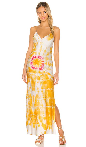DANNIJO Bullseye Dyed Slip Dress in Orange