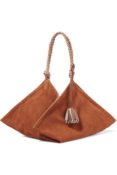 Ulla Johnson - Behati Origami Large Leather-trimmed Suede Tote - Light brown