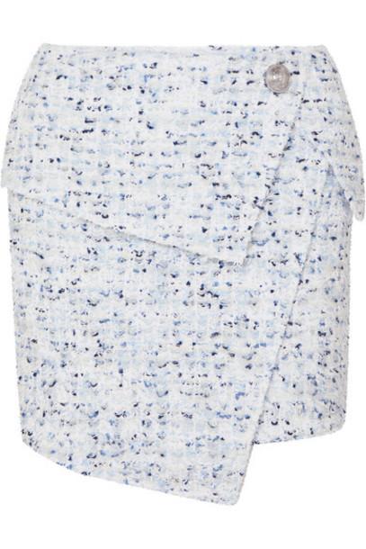 Balmain - Wrap-effect Button-embellished Metallic Tweed Mini Skirt - Blue