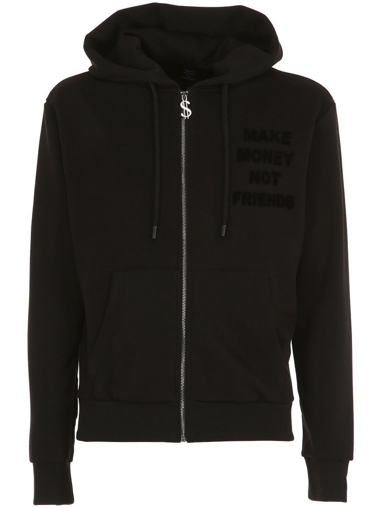 MAKE MONEY NOT FRIENDS Logo Zip-up Cotton Sweatshirt Hoodie in black