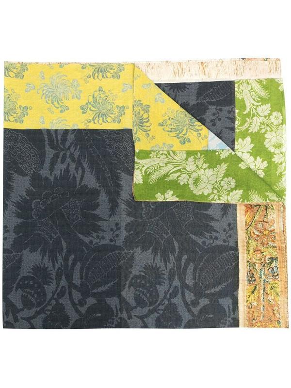 Pierre-Louis Mascia jacquard panelled cotton-silk scarf in blue