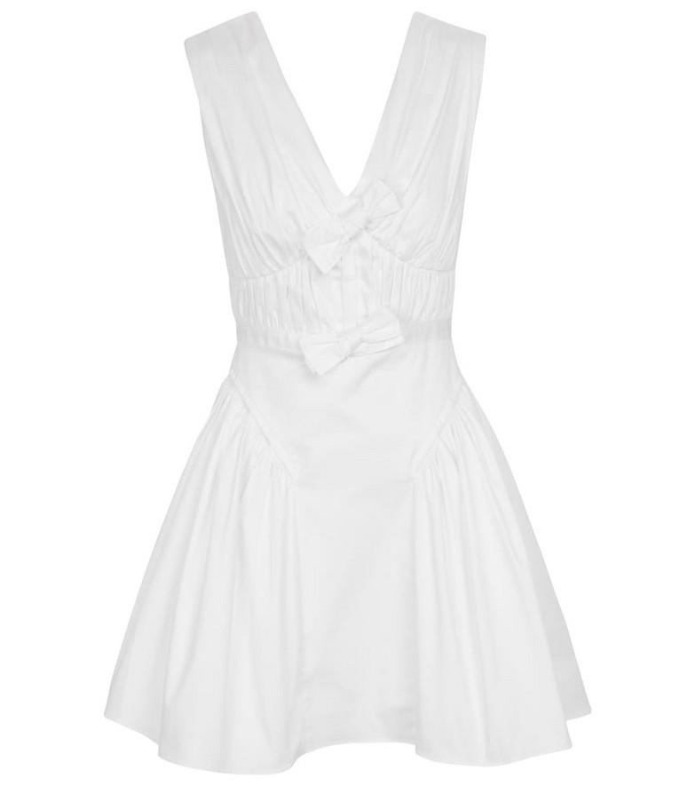 Self-Portrait Stretch-cotton minidress in white
