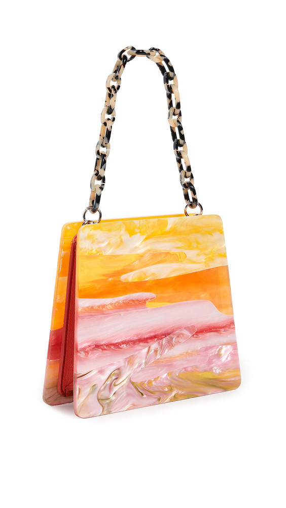 Edie Parker Abstract Sunset Hardshell Bag in pink / multi