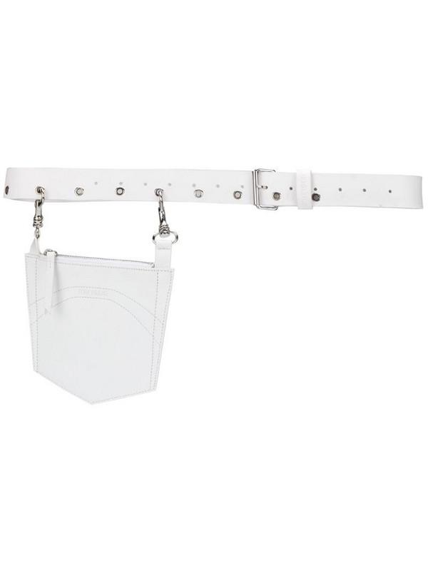 d'heygere Pocket leather belt in white