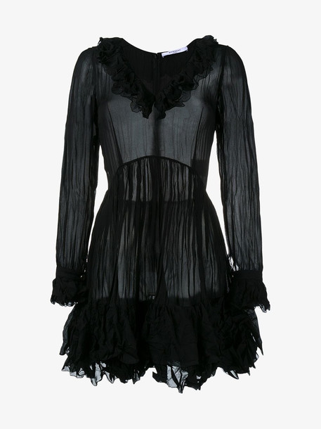 Givenchy creased ruffled dress in black