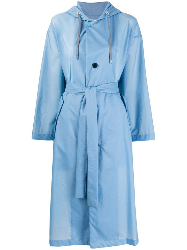 Zucca hooded trench coat in blue