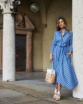 dress,shirt dress,midi dress,asymmetrical dress,stripes,platform sandals,bag