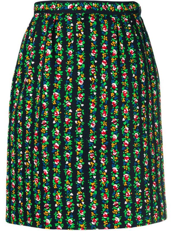 Yves Saint Laurent Pre-Owned floral print skirt in black