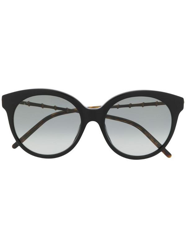 Gucci Eyewear bamboo-effect round-frame sunglasses in black