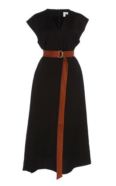 Partow Georgia Linen Sack Midi Dress in black