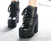 shoes,black,boots,aliexpress,chuncky heels,chunky heel,ankle boots,punk,lace up,high heels