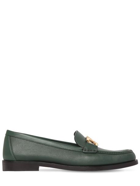 SALVATORE FERRAGAMO 20mm Rolo Leather Loafers in green