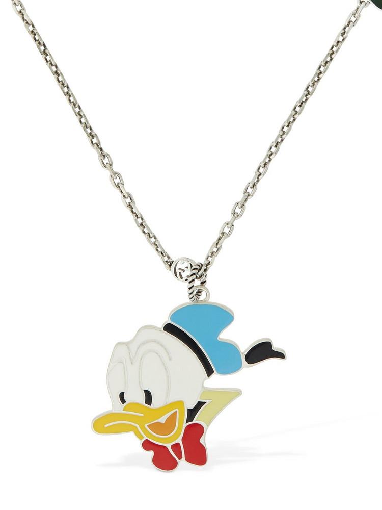 GUCCI Enamel Donald & Gg Charm Necklace in silver / multi
