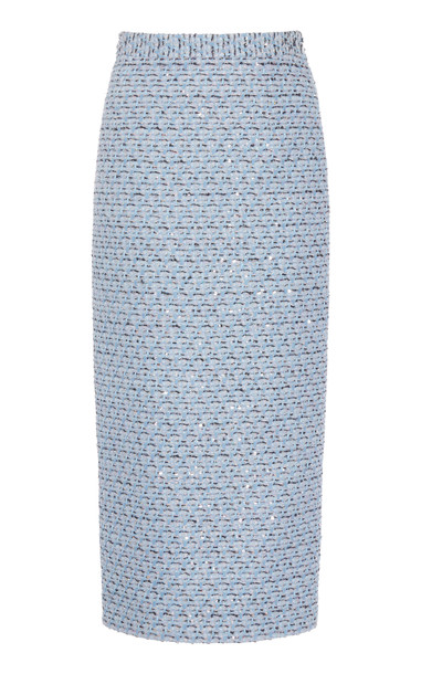 Alessandra Rich Sequined High-Rise Tweed Skirt Size: 38 in blue