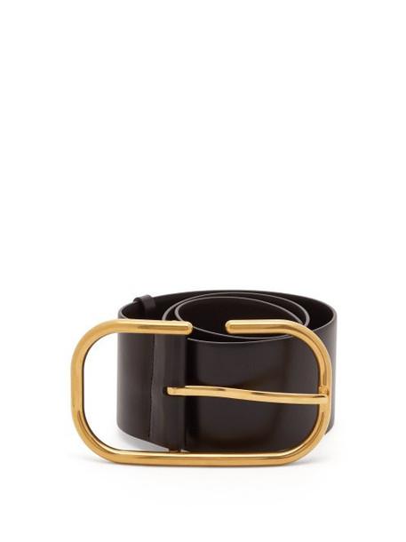 Valentino - Oversized Buckle Leather Belt - Womens - Black