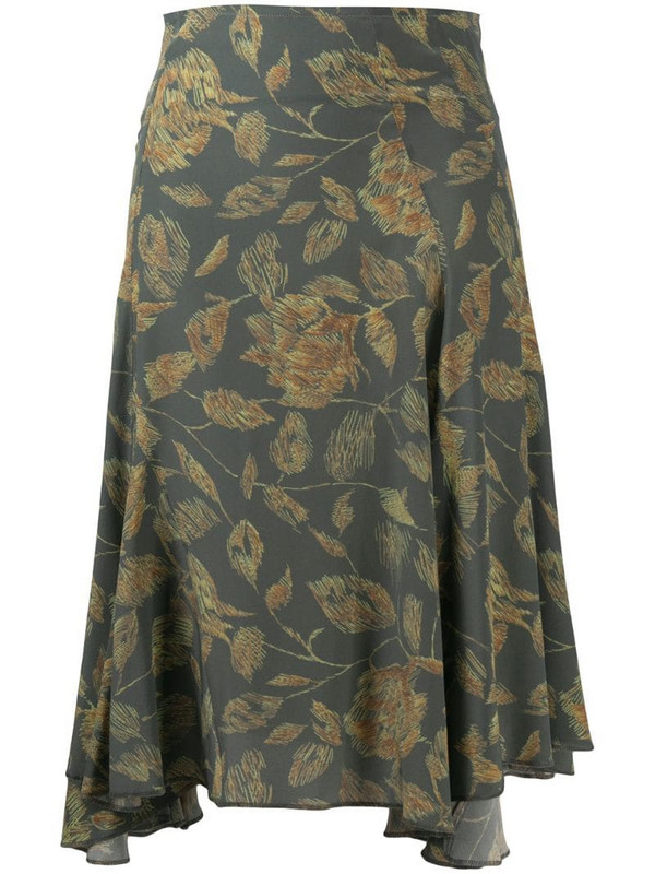 Charlotte Knowles floral-print midi skirt in green