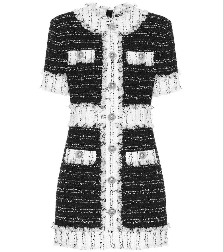 Balmain Cotton-blend tweed minidress in black