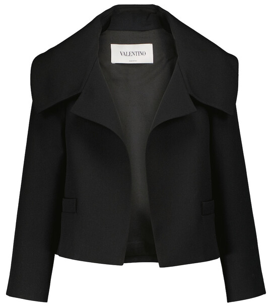 Valentino Wool and silk cropped jacket in black