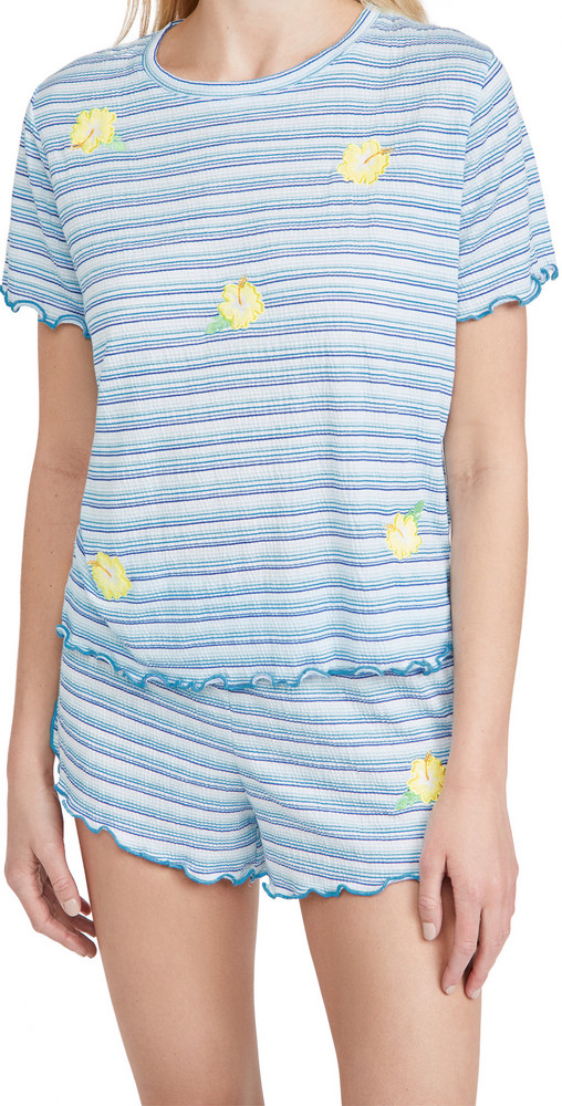 Emerson Road Tee & Shorts Pajama Set in blue / white