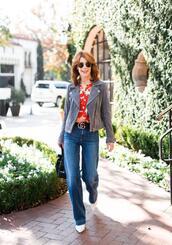 themiddlepage,blogger,blouse,jacket,jeans,belt,shoes,bag