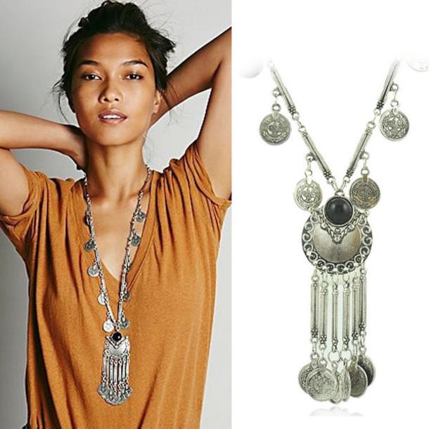 jewels vintage boho necklace silver vintage necklace coin necklace