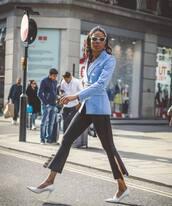 coat,light blue,blazer,pants,black pants,cropped pants,shoes,sunglasses